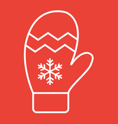 mitten line icon new year and christmas xmas vector image vector image