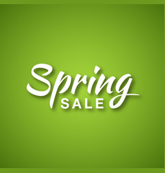 spring sale calligraphic text on green background vector image vector image