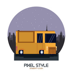 truck pixelated isolated vector image vector image