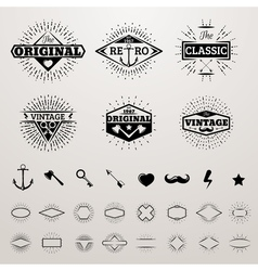 Vintage lines insignia set with star burst hipster vector