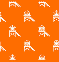 wooden stilt house pattern seamless vector image vector image