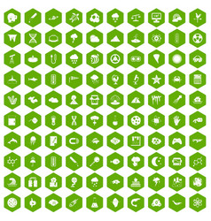 100 research icons hexagon green vector