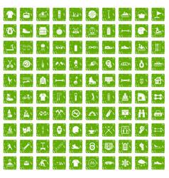 100 sport life icons set grunge green vector image