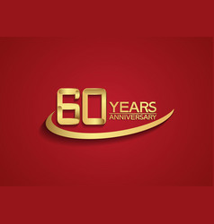 60 years anniversary logo style with swoosh vector