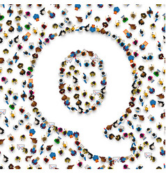 A group of people in english alphabet letter q vector