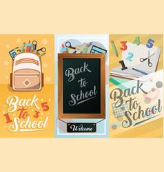 back to school card set school supplies vector image