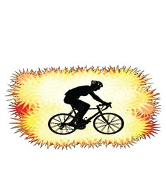 Background with bicyclist silhouette vector
