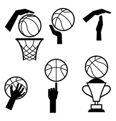 Basketball icon set of gestures and symbols in vector image