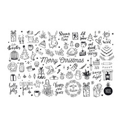 big merry christmas and happy new year festive vector image