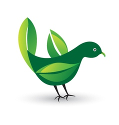 Bird with ecological leafs vector image