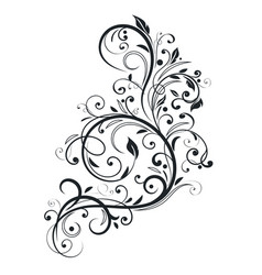 Black floral branch decorative filigree design vector