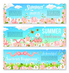 Blooming orchids or crocuses summer banners vector