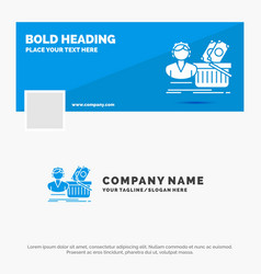 blue business logo template for salary shopping vector image