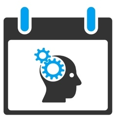 Brain Gears Calendar Day Toolbar Icon vector