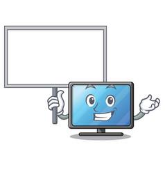 bring board lcd tv cartoon in living room vector image