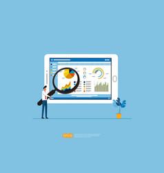 businessman analysis web statistics charts on vector image