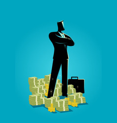 Businessman standing with a lot of money vector