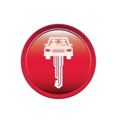 Button with key in car shape vector
