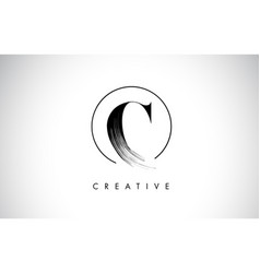 c brush stroke letter logo design black paint vector image