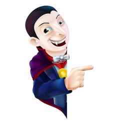 Cartoon dracula vampire pointing vector
