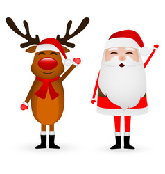 cartoon funny santa claus and reindeer waving vector image