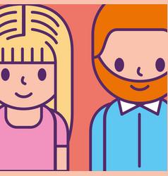 cartoon man and woman young characters vector image