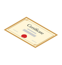 certificate diploma with red seal isolated on vector image