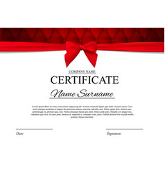certificate template background with red bow vector image