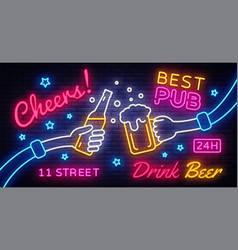 Cheers neon banner party celebration vector