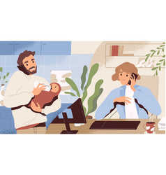 concept paternity leave instead maternity vector image