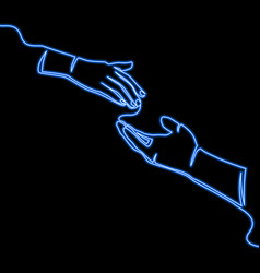 Continuous line caring hand neon logo concept vector