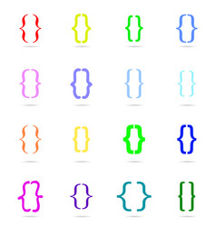 curly bracket icon colored set vector image