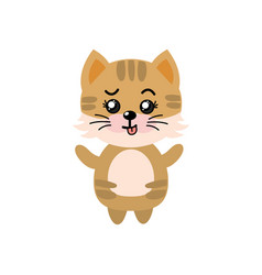 Cute cat wild animal with face expression vector