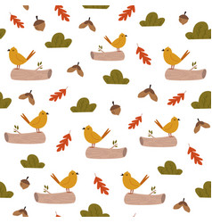 cute seamless pattern with bright birds and forest vector image