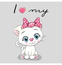 Cute White kitten vector