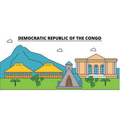 Democratic republic of the congo outline city vector