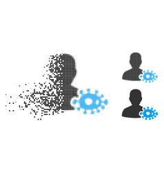 Destructed dotted halftone bacteriologist icon vector