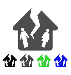 Divorce house flat icon vector