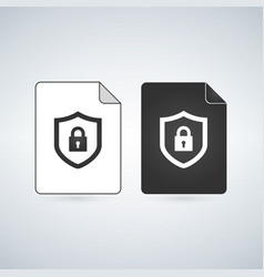 Document icon with lock flat design vector