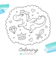 dragon for coloring vector image