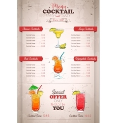 Drawing vertical color cocktail menu design vector image
