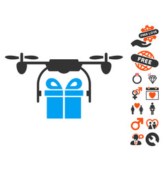 Drone gift delivery icon with valentine bonus vector