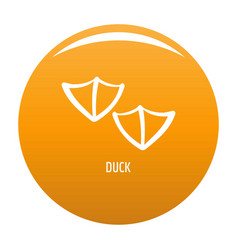 Duck step icon orange vector