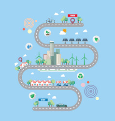 Ecology city with town road infographic vector