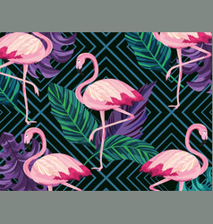 exotic flamingos animals and leaves background vector image