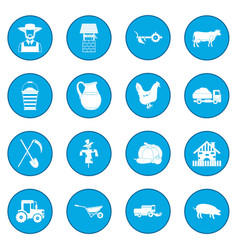 farm black icon blue vector image