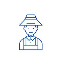 farmer line icon concept farmer flat vector image