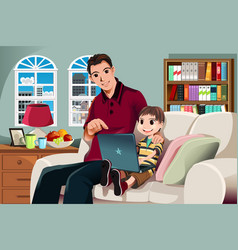 father and son using computer vector image