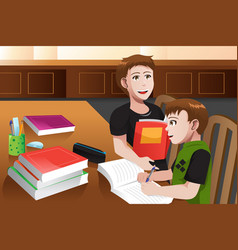 Father helping his son doing homework vector