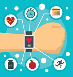 Fitness tracker watch concept background flat vector